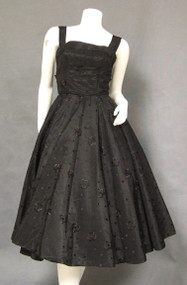 Lorrie Deb Embroidered Black Taffeta 1950's Cocktail Dress