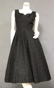 Fabulous Fully Embroidered Black Taffeta 1950's Cocktail Dress