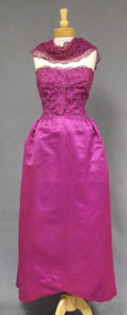 Striking Hattie Carnegie Strapless Ball Gown w/ Attached Lace Shawl