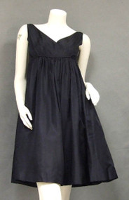 Chic Malcolm Starr Navy Silk 1960's Cocktail Dress