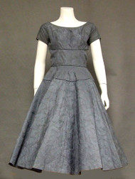 Slate Blue Embroidered Tulle & Taffeta 1950's Cocktail Dress