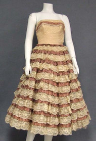INCREDIBLE Two Toned Lace & Taffeta 1950's Prom Dress