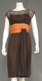 Chocolate & Orange Chiffon Vintage Cocktail Dress