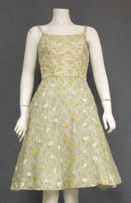 Charming Embroidered Voile Vintage Dress from 1957