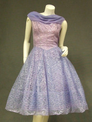 Purple Metallic Lace & Chiffon 1960's Party Dress