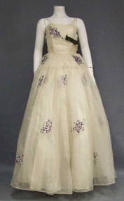 WONDERFUL Ivory Organdy Ball Gown w/ Purple Posey Embroidery
