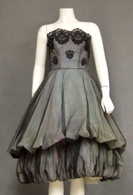 SUPERB Pont D'Esprit Tulle 1950's Cocktail Dress w/ Double Balloon Skirt