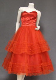 Eye Catching Red Satin & Tulle Vintage Prom Dress