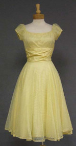 Adorable Daffodil Colored Nylon Eyelet 1960's Party Dress