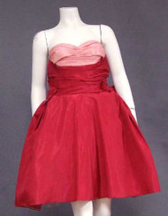 Will Steinman Two Toned Pink Taffeta 1950's Cocktail Dress
