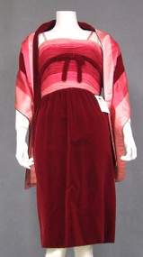 EXTRAORDINARY Bob Bugnand Chiffon & Velvet Cocktail Dress w/ Matching Wrap