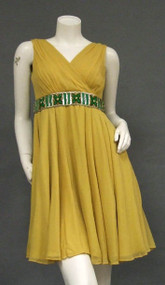 Floating Goldenrod Chiffon 1960's Cocktail Dress w/ Beaded Waist