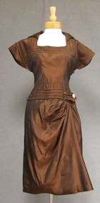 Copper Taffeta Sarong Style Cocktail Dress