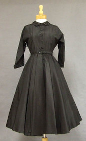 Black Taffeta 1950's Shirt Dress w/ Rhinestone Collar