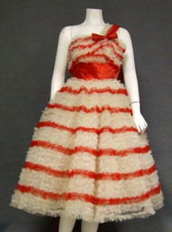 AMAZING Red & White Tulle 1950's Prom Dress