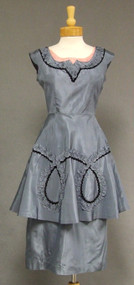 Bombshell Slate Blue Taffeta 1950's Cocktail Dress w/ Braid & Double Skirt