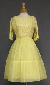 Sunny Yellow Lace & Nylon 1960's Cocktail Dress