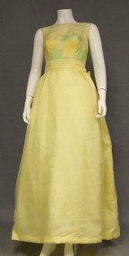 Late 1960's Yellow Organdy Evening Dress w/ Crocheted Lace