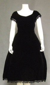 Harvey Berin Rich Black Velvet 1950's Cocktail Dress