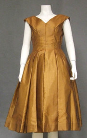 Caramel Organdy 1950's Party Dress w/ Delicious Bow Back