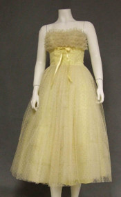 Strapless Yellow & White Flocked Tulle 1950's Prom Dress