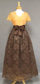 Sarmi Pumpkin & Chocolate Lace 1960's Ball Gown