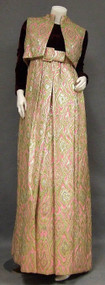 Sarmi Lime, Pink, Silver & Gold Brocade Evening Dress & Vest w/ Wine Velvet Bodice