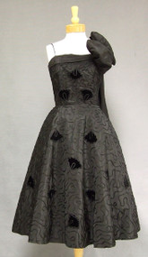 Gorgeous Appliqued Black Taffeta 1950's Cocktail Dress