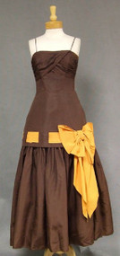 Fred Perlberg Chocolate & Pumpkin 1950's Evening Dress