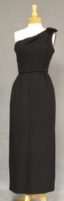 One Shouldered Black Crepe 1960's Evening Gown