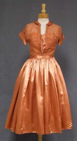 Burnt Orange Satin Strapless 1950's Prom Dress w/ Lace Jacket