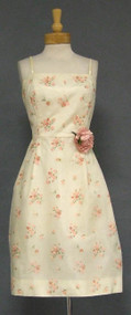 Cream Floral 1960's Cocktail Dress