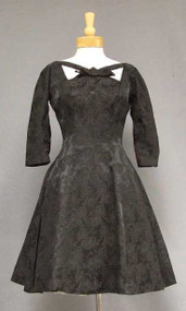 Black Damask 1960's Cocktail Dress w/ Neat Neckline