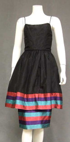 Chic Silk Taffeta 1960's Cocktail Dress w/ Colorful Shantung Hem
