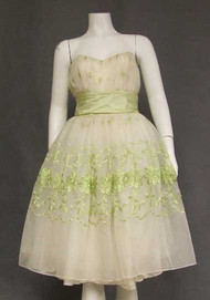 Ivory chiffon 1960's Prom Dress w/ Sea Green Embroidery