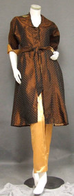 Copper Taffeta & Apricot Satin 1950's Hostess Set