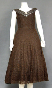 Wonderful Chocolate Lace 1950's Cocktail Dress w/ Blue Satin