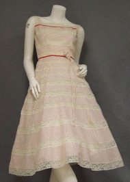 Perfect Dotted Swiss & Lace 1950's Afternoon Dress