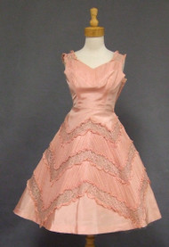 Wonderful Pink Taffeta & Lace 1950's Cocktail Dress