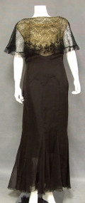 Elegant Black Silk & Lace 1930's Evening Gown