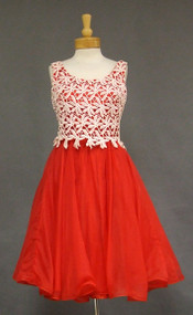 Red Nylon & White Lace 1960's Cocktail Dress