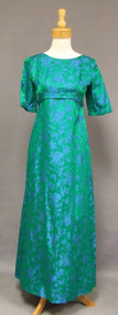 Emma Domb 1960's Evening Gown w/ Watteau Back