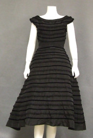 Black Taffeta Cocktail Dress w/ Ruffled Lace & Velvet Trim