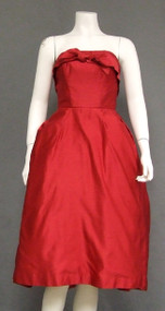Red Satin Strapless Vintage Cocktail Dress