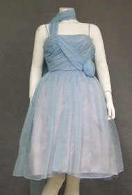 Floating Blue Chiffon Pre-Teen/XXS 1960's Cocktail Dress