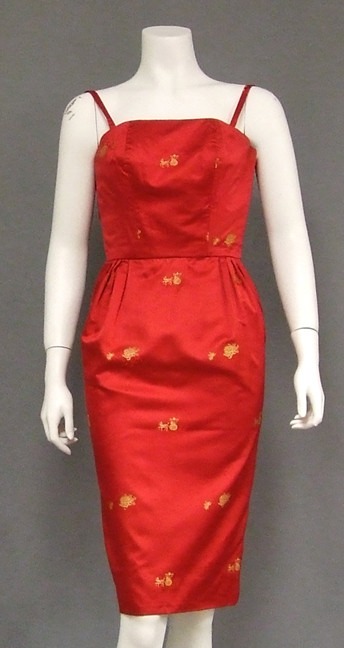 free shipping double coupon select for genuine Cherry Red Satin 1960's Cocktail Dress w/ Horse & Carriage