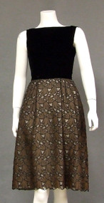 Black Velvet & Embroidered Cutwork 1960's Cocktail Dress
