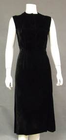 Simple Black Velvet 1940's Cocktail Dress