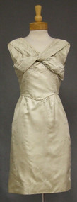 Cream Satin 1960's Cocktail Dress w/ Twist Bodice