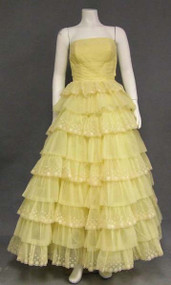 Yellow Chiffon 1960's Ball Gown w/ Flocked Polka Dots